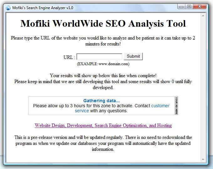 Click to view Mofiki's SEO Analyzer 1.0 screenshot